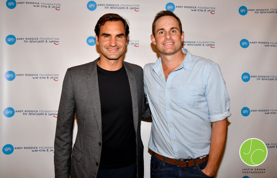 Roger Federer and Andy Roddick at the Andy Roddick Foundation's event in Austin, Texas