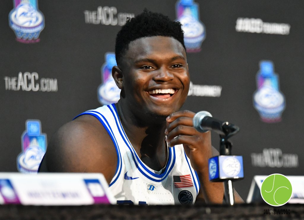 Press Conference of Duke Basketball Player Zion Williamson during the New York Life ACC Basketball Tournament in Charlotte, North Carolina