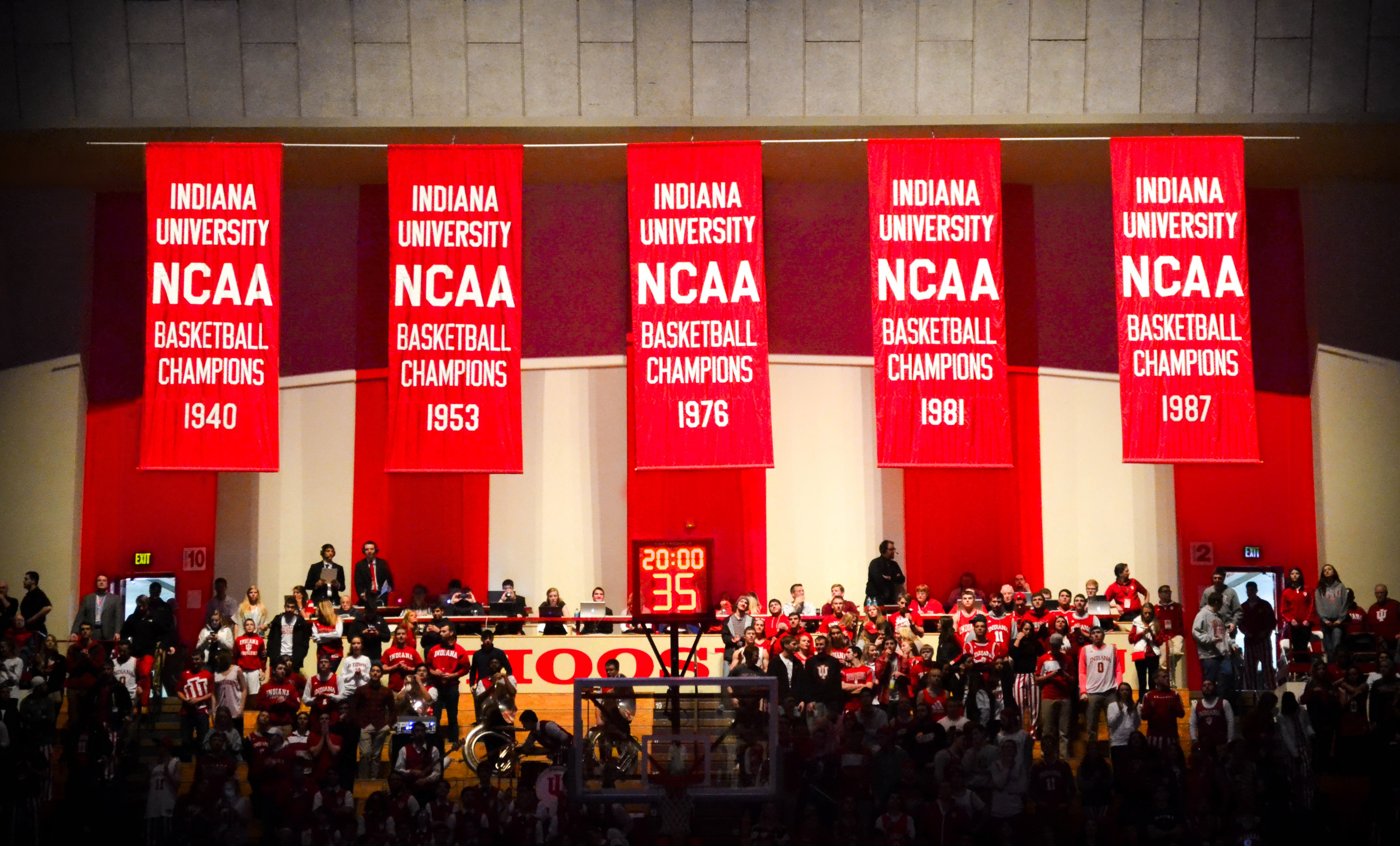 Indiana Hoosiers Basketball National Champions Banners at Assembly Hall in Bloomington, Indiana